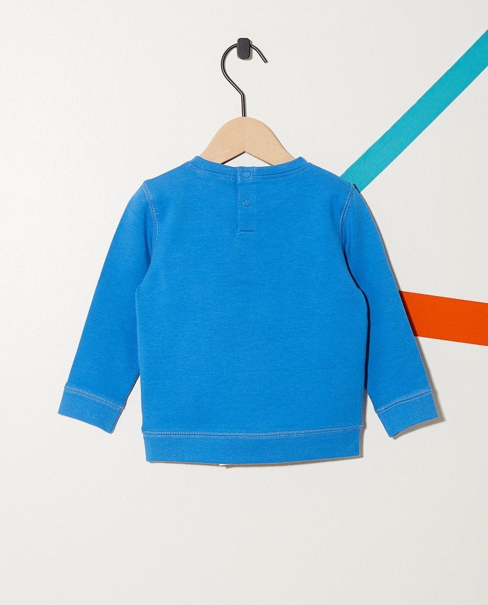 Sweater - Aqua - Sweater mit Bouclé-Aufschrift